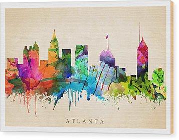 Atlanta Cityscape Wood Print