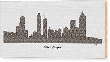 Atlanta Georgia 3d Stone Wall Skyline Wood Print
