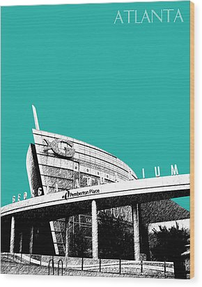 Atlanta Georgia Aquarium - Teal Green Wood Print by DB Artist