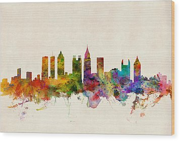 Atlanta Georgia Skyline Wood Print by Michael Tompsett