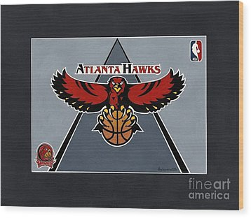 Atlanta Hawks T-shirt Wood Print by Herb Strobino