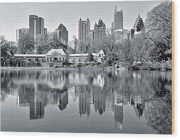 Atlanta Reflecting In Black And White Wood Print by Frozen in Time Fine Art Photography