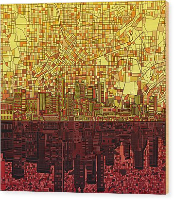 Atlanta Skyline Abstract 3 Wood Print