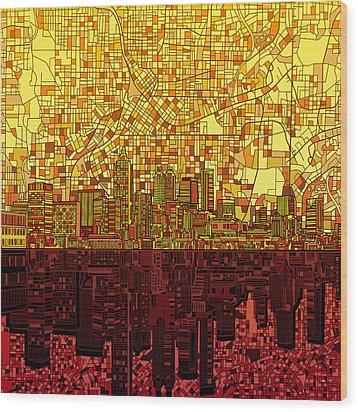 Atlanta Skyline Abstract 3 Wood Print