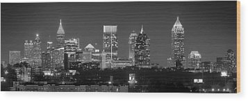 Atlanta Skyline At Night Downtown Midtown Black And White Bw Panorama Wood Print by Jon Holiday