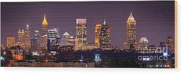Atlanta Skyline At Night Downtown Midtown Color Panorama Wood Print by Jon Holiday