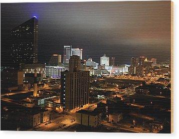 Atlantic City At Night Wood Print