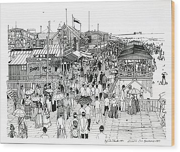 Wood Print featuring the drawing Atlantic City Boardwalk 1890 by Ira Shander