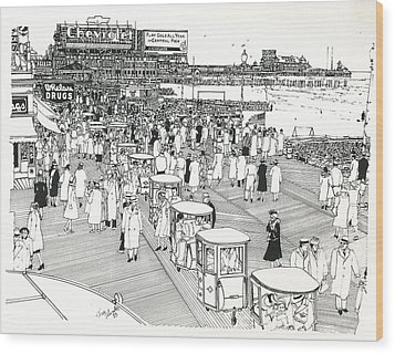 Wood Print featuring the drawing Atlantic City Boardwalk 1940 by Ira Shander