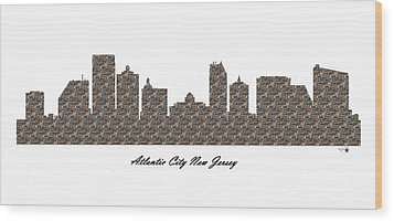 Atlantic City New Jersey 3d Stone Wall Skyline Wood Print