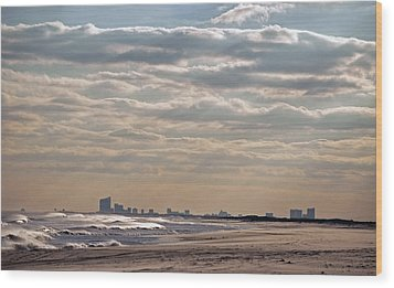 Atlantic City Skyline II Wood Print