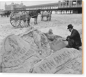 Atlantic City The Sandman Wood Print by Granger