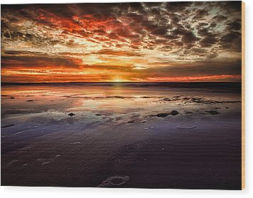 Atlantic Sunrise Wood Print by Joshua Minso