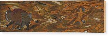 Atlatl Hunting  Wood Print by Gerald Strine