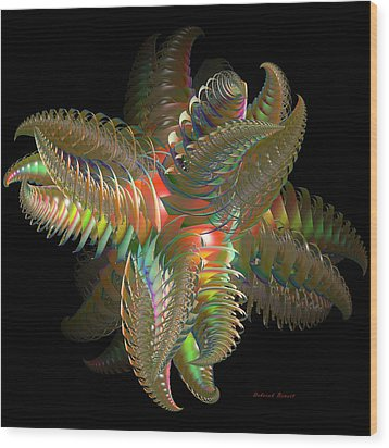 Atom Of Color Wood Print by Deborah Benoit