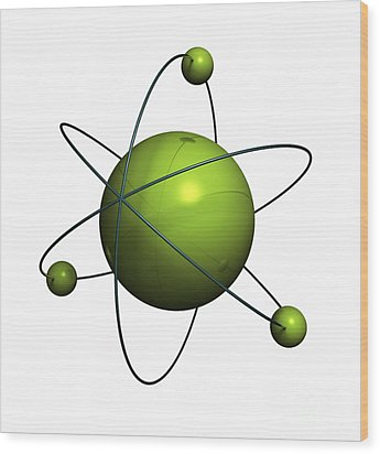 Atom Structure Wood Print by Johan Swanepoel