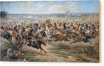 Attack Of The Horse Regiment Wood Print by Victor Mazurovsky