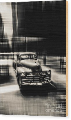 attracting curves III gray Wood Print by Hannes Cmarits