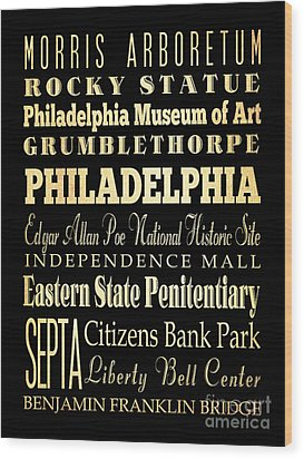 Attractions And Famous Places Of Philadelphia Pennsylvania Wood Print by Joy House Studio