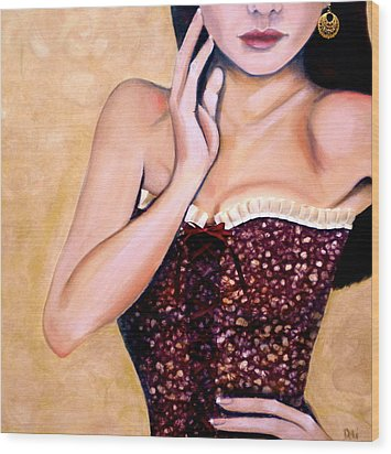 Aubergine Lace Wood Print