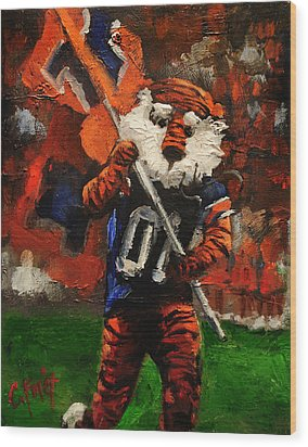 Aubie Running Flags Wood Print
