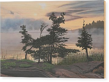 Auburn Evening Wood Print by Kenneth M  Kirsch