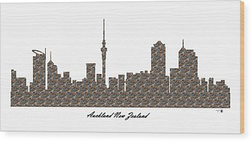 Auckland New Zealand 3d Stone Wall Skyline Wood Print