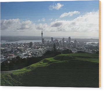 Auckland With Mt. Eden Wood Print by David and Mandy