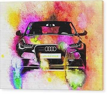Audi A6 Avant Watercolor Wood Print