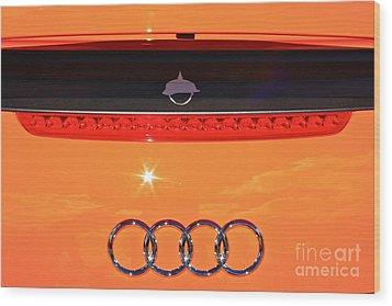 Audi Orange Wood Print by Linda Bianic