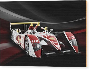 Audi R10 Wood Print by Peter Chilelli