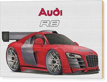Audi Toon Wood Print by Lyle Brown