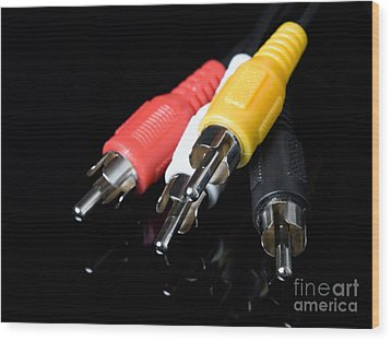 Audio And Video Cables Wood Print by Sinisa Botas