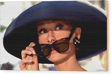 Audrey Hepburn @ Breakfast At Tiffany's Wood Print