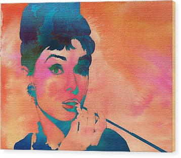 Wood Print featuring the painting Audrey Hepburn 1 by Brian Reaves