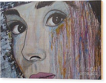 Audrey Hepburn-abstract 2 Wood Print by Ismeta Gruenwald