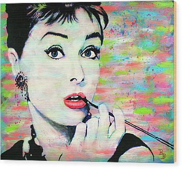 Wood Print featuring the painting Audrey Hepburn Art Breakfast At Tiffany's by Bob Baker
