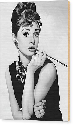 Audrey Hepburn Artwork Wood Print by Sheraz A