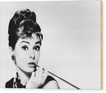 Audrey Hepburn Wood Print by Csongor Licskai