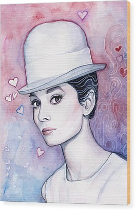 Audrey Hepburn Fashion Watercolor Wood Print