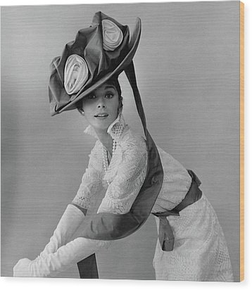 Audrey Hepburn In Costume For My Fair Lady Wood Print by Cecil Beaton