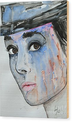 Wood Print featuring the painting Audrey Hepburn - Painting by Ismeta Gruenwald