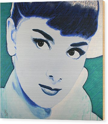 Audrey Hepburn Pop Art Painting Wood Print by Bob Baker