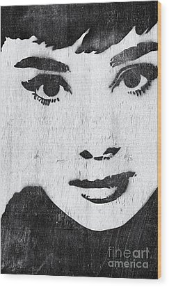 Audrey Hepburn Wood Print by Tim Gainey