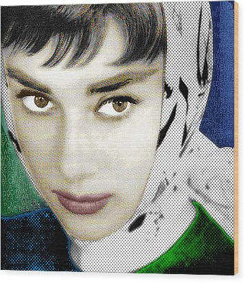 Audrey Hepburn Wood Print by Tony Rubino