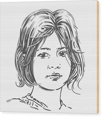 Wood Print featuring the drawing Audrey by Olimpia - Hinamatsuri Barbu