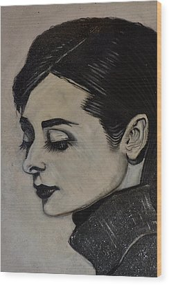 Wood Print featuring the painting Audrey by Sandro Ramani