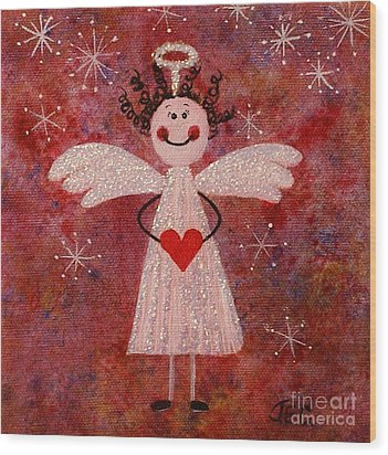 Audrey The Angel Wood Print by Jane Chesnut