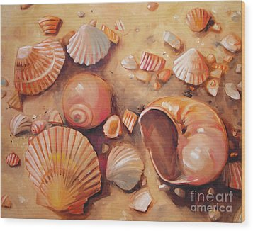 August Shells Wood Print by Mary Hubley