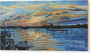 August Sunset In Woods Hole Wood Print by Rita Brown